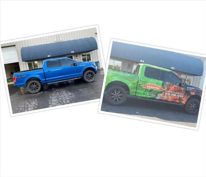 blue F150 on left F150 wrapped with SERVPRO logo on right