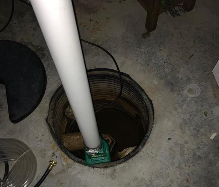 this is a sump pump that has filled with water and caused a basement to fill with water